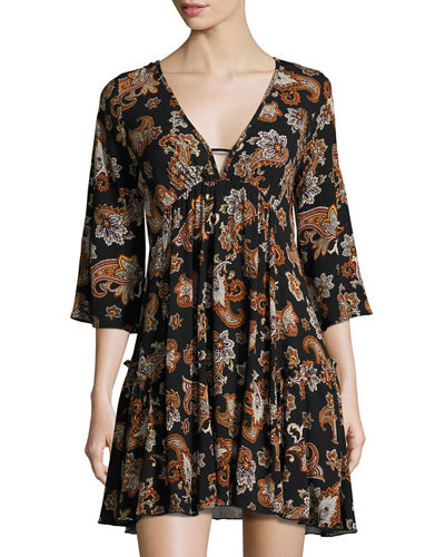 Arabella Printed Empire-Waist Ruffle Dress