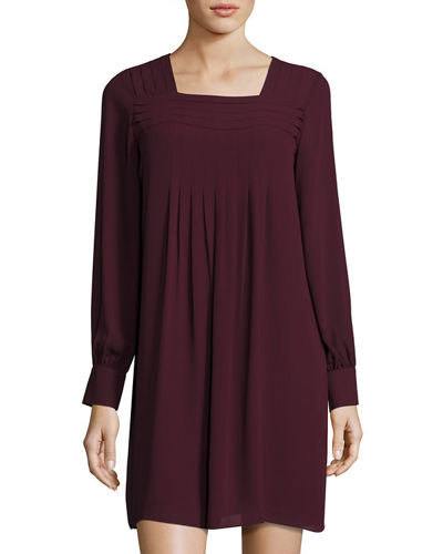Pleated Square-Neck Shift Dress