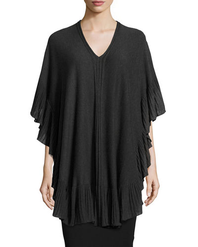 Ruffled-Trim Knit Poncho