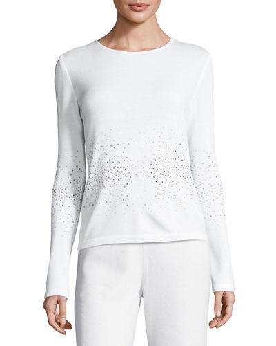 Lightweight Embellished Santana Knit Sweater