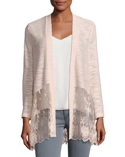 Lace-Panel Open-Front Cardigan