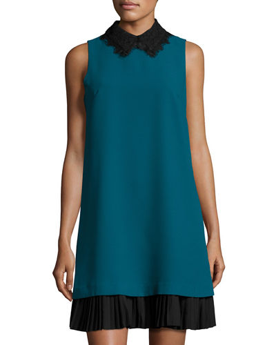 Lace-Collar Shift Dress with Pleated Hem