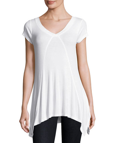V-Neck Short-Sleeve Ribbed Tee