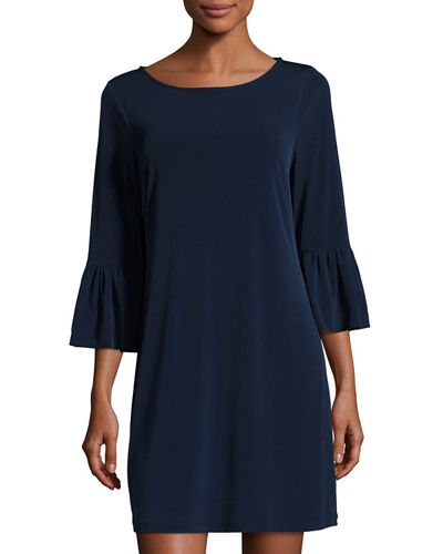 Elle Trumpet-Sleeve Stretch-Knit Dress
