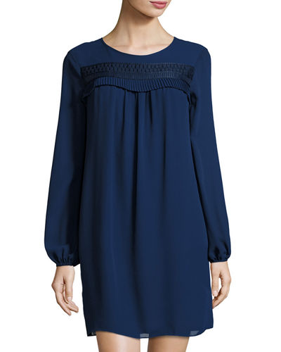 Ruffled-Trim Long-Sleeve Georgette Dress