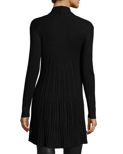 Pleated Long-Sleeve Open-Front Cardigan