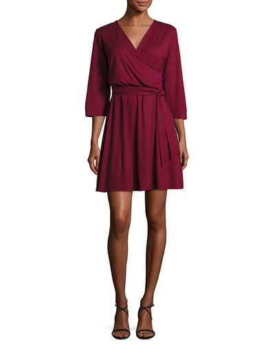 Perfect Faux-Wrap Mini-Dress, Plus Size