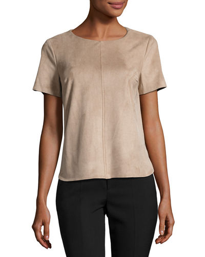 Short Sleeve Faux Suede Top