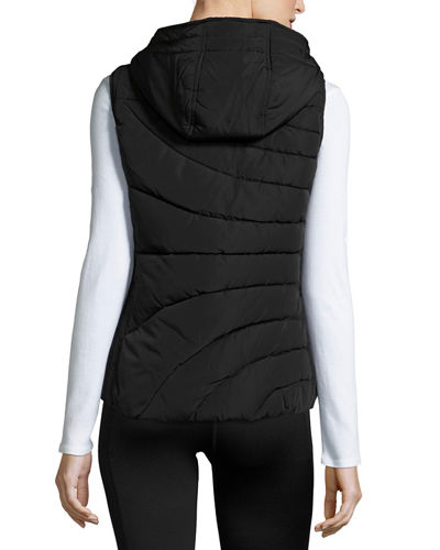 Hooded Printed-Lining Puffer Vest