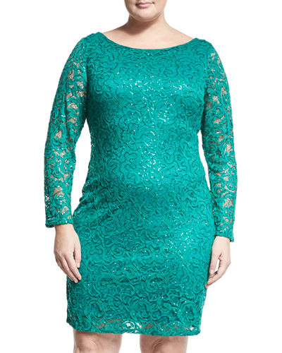 Long Sleeve Lace Overlay Sheath Dress Plus Size