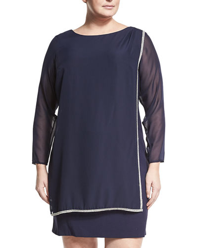 Jewel Embellished Chiffon Overlay Dress Plus Size