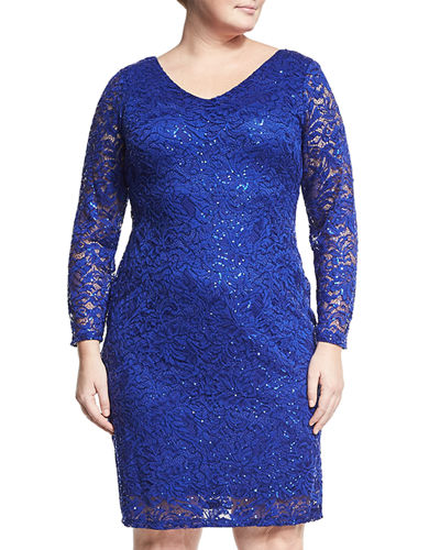 Sequin-Embellished Lace Sheath Dress, Plus Size