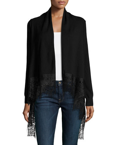 CARDI L/S WIDE LACE HEM CARD