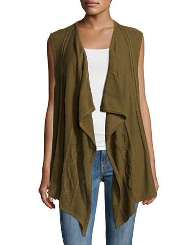 Open Asymmetric Draped Vest