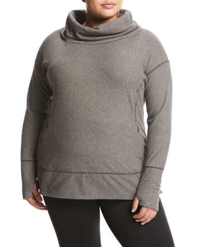Cowl-Neck Fleece Tunic Top, Plus Size
