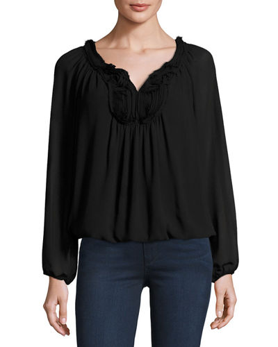 Embroidered-Yoke Bubble-Hem Blouse