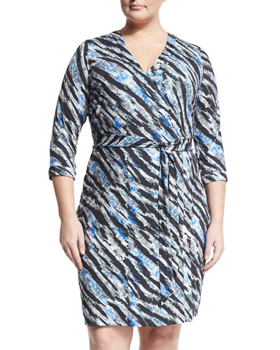 Geo-Print Wrap-Front Dress, Plus Size