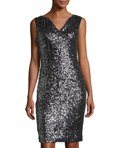 Notched-Collar Sequined Sheath Dress