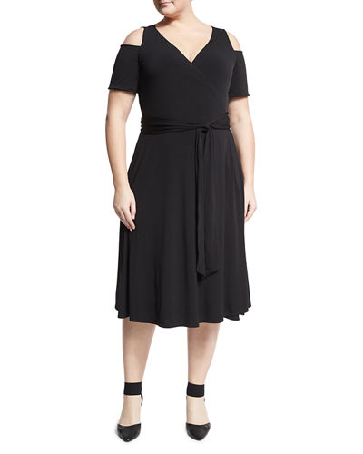 Cold-Shoulder Wrap Dress, Plus Size