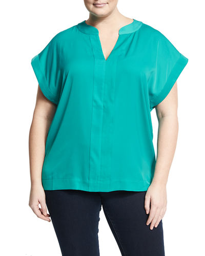 Split Neck Dolman Tee Plus Size