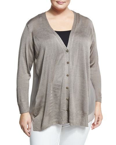 Chiffon Back Lightweight Cardigan Plus Size