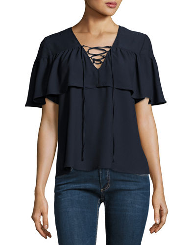 Lace Up Flutter Sleeve Top