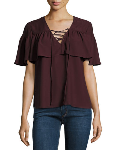 Lace-Up Flutter-Sleeve Top