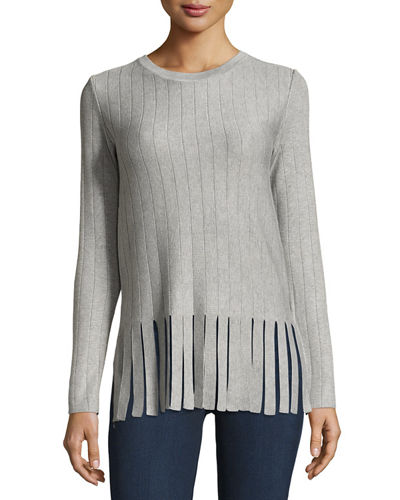Long-Sleeve Fringe-Hem Sweater