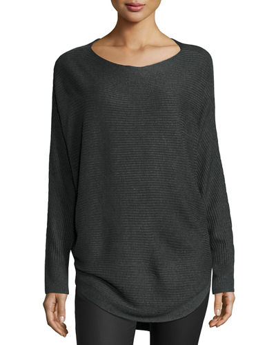 Dolman-Sleeve Boat-Neck Pullover Sweater