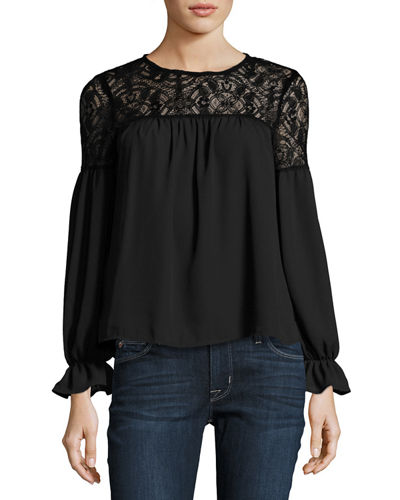 Long-Sleeve Lace-Trim Top