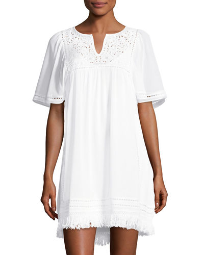 Flutter-Sleeve Fringed-Hem Dress