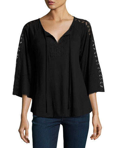 Lace-Trim Relaxed Peasant Top