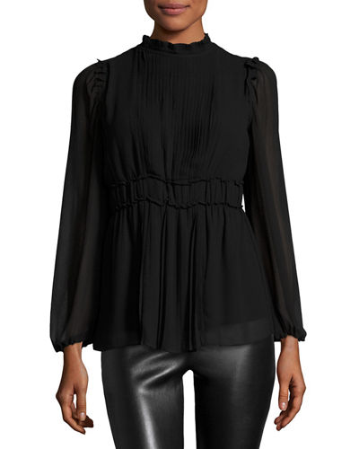 Pleated Bell-Sleeve Tunic Top