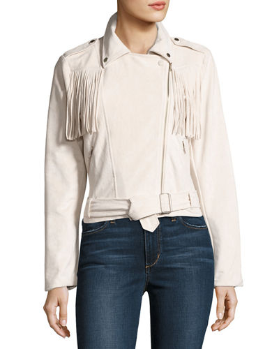 Faux Suede Fringed Biker Jacket