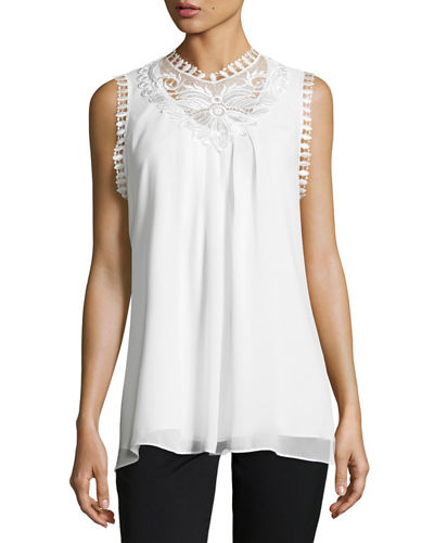 Sleeveless High-Neck Lace-Trim Blouse