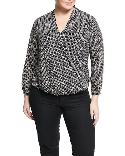 Printed Long Sleeve Blouson Blouse Plus Size