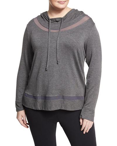 Long Inset Mesh Inset Hoodie Plus Size