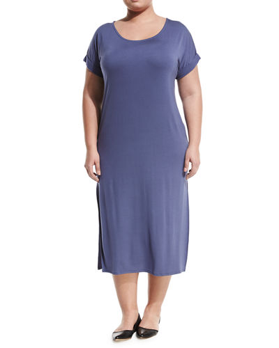 Side-Slit Maxi Tee Dress, Plus Size