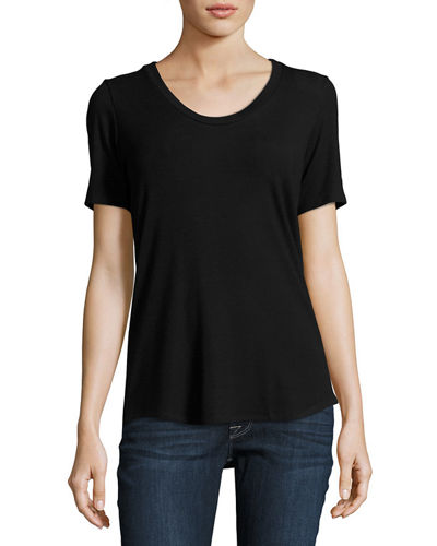 Ribbed Scoop-Neck Tee, Plus Size