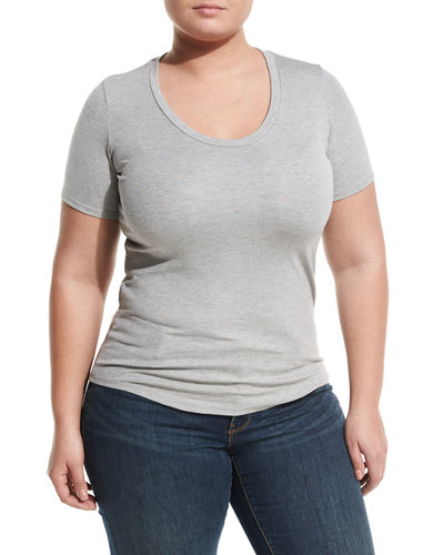 Ribbed Scoop Neck Tee Plus Size