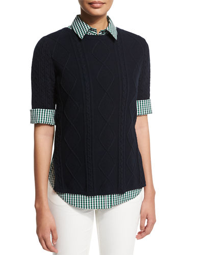 Half-Sleeve Mixed-Cable Sweater, Ink/Verde
