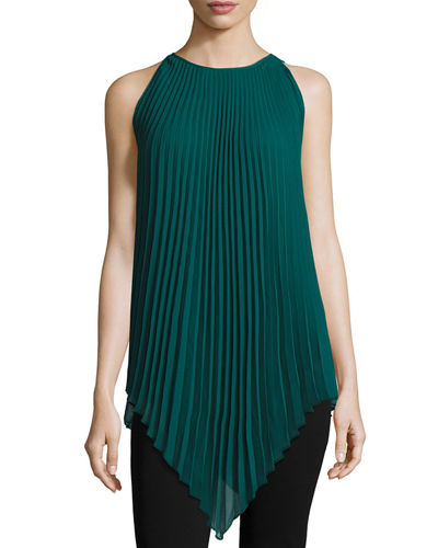 Sleeveless Pleated Chiffon Tunic
