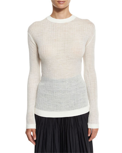 Long-Sleeve Sheer Ribbed Pullover Sweater