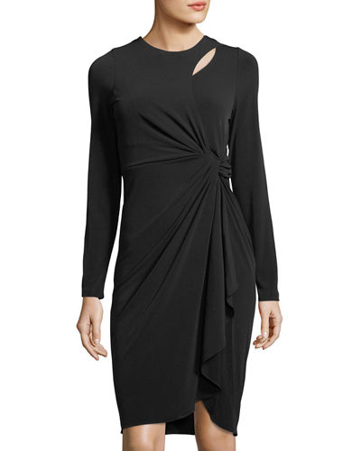 Long-Sleeve Asymmetric Keyhole Dress