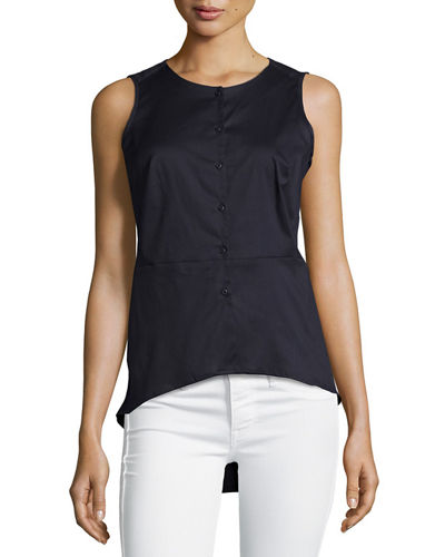 Solid Button-Front Peplum Blouse