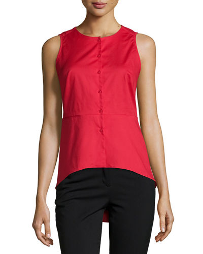 Solid Button Front Peplum Blouse