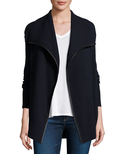 Ribbed Wool Cardigan with Leather Trim, Coastal