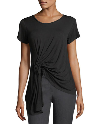 Twist-Front Asymmetric-Hem Top