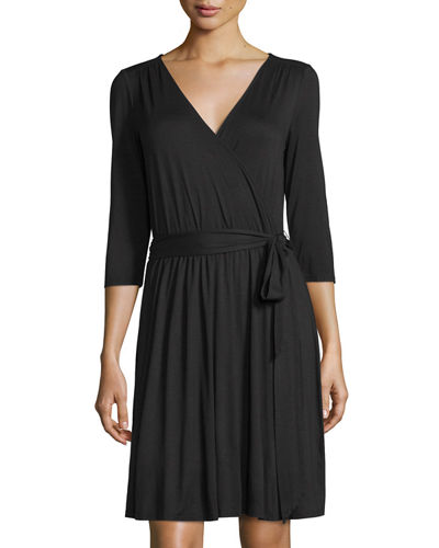3/4-Sleeve Jersey Wrap Dress