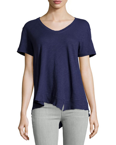 Slouchy Asymmetric V-Neck Top